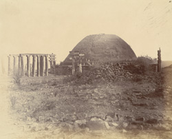 General view of the Great Stupa from the south, showing the vihara and repairs, Sanchi, Bhopal State